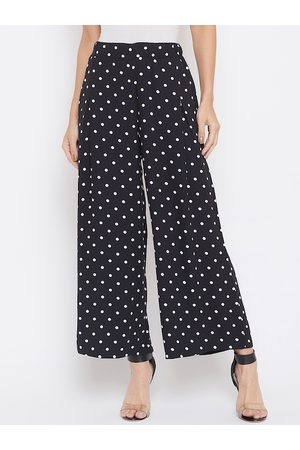 Crimsoune Club Women Black & White Relaxed Polka Dots Printed Parallel Trousers