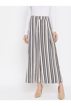 Crimsoune Club Women White & Brown Relaxed Regular Fit Striped Parallel Trousers