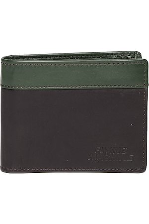 Flying Machine Men Brown & Green Two Fold Leather Card Holder