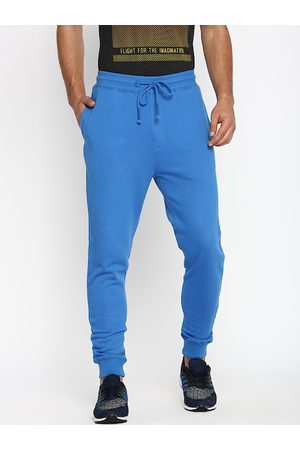 Basics Men Blue Solid Slim-Fit Joggers