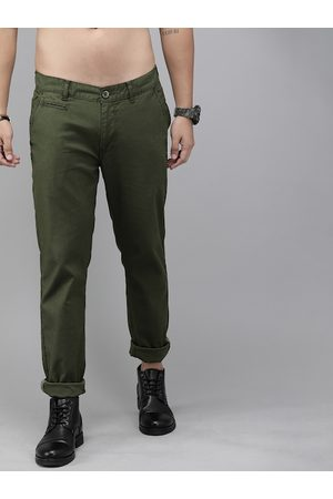 Roadster Men Olive Green Carrot Regular Fit Solid Chinos