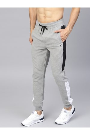 HRX Men Grey Melange Lifestyle Slim Fit Ottoman Joggers