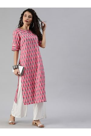 Anouk Women Pink & Grey Ikat Printed Straight Kurta