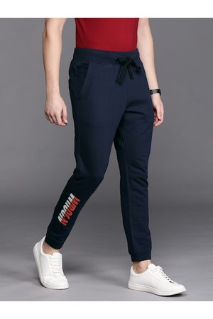 WROGN Men Navy Blue Slim Fit Solid Joggers With Printed Detailing