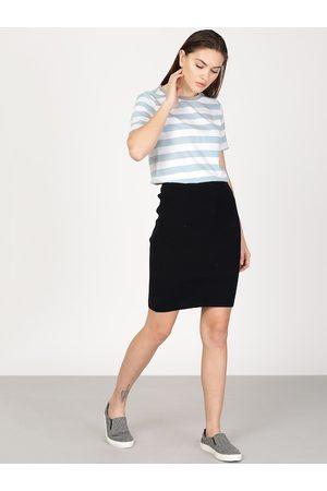 Ether Women Blue & White Striped Round Neck T-shirt