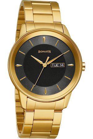 Sonata Utsav Men Black Analogue Watch 7133YM02