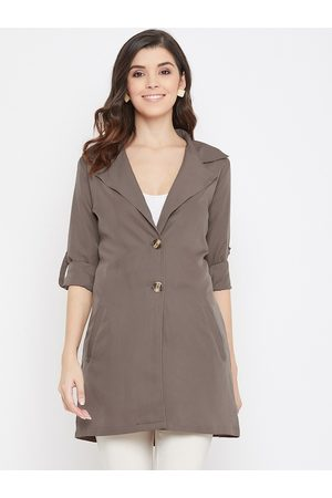 Color Cocktail Women Grey Solid Trench Coat