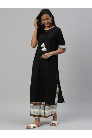 Anouk Women Black Solid Kurta with Palazzos