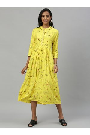 Anouk Women Yellow Printed Fit and Flare Dress