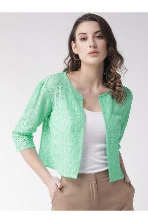 Style Quotient Women Green Lace Open Front Shrug