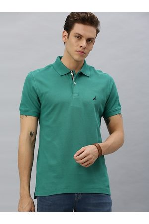 Nautica Men Green Slim Fit Solid Polo Collar T-shirt