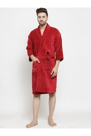 Trident Men Red Solid Comfort Medium Bath Robe