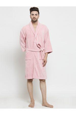 Trident Men Pink Solid Bath Robe
