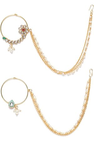 Zaveri Pearls Women Set of 2 Gold-Plated Kundan-Studded Clip-On Nose Rings with Chain