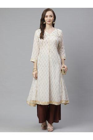 Bhama Couture Women Off-White & Golden Bird Block Print A-Line Kurta