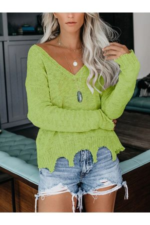 YOINS Ripped Design V-neck Long Sleeves Knit Top