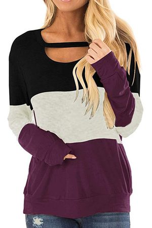YOINS Cut Out Color Block Round Neck Long Sleeves Tee