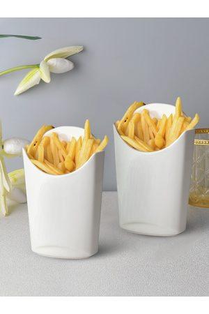 Ariane Set Of 2 White Solid Fine Porcelain Finger Food Pockets