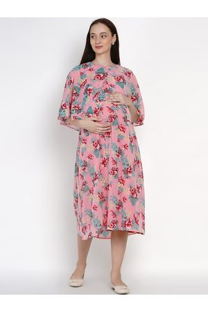 Mine4Nine Women Pink Printed Fit and Flare Dress