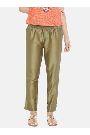 GO COLORS Women Golden Tapered-Fit Solid Trousers