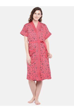 Sand Women Pink & Black Printed Bath Robe 7054