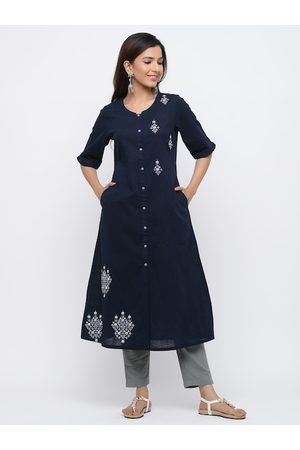 Jaipur Women Navy Blue & Grey Embroidered Kurta with Trousers