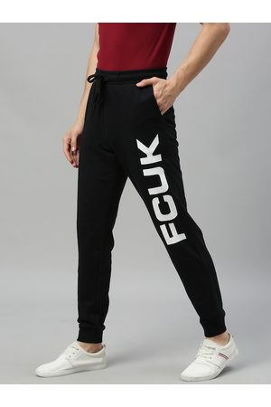 French Connection Men Black Printed Slim Fit Joggers