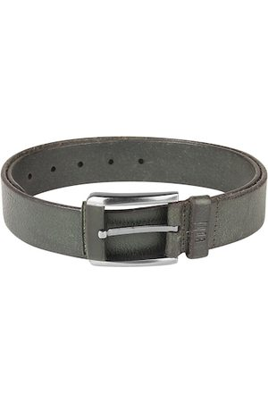 echt Men Green Solid Genuine Leather Belt