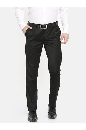 Blackberrys Men Black Sharp Fit Solid Formal Trousers