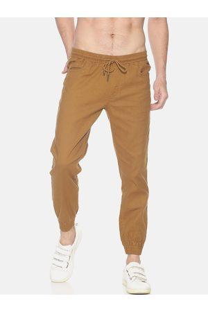 IVOC Men Khaki Brown Slim Fit Solid Joggers