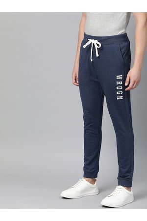 WROGN Men Navy Blue Solid Straight Fit Joggers With Printed Detailing