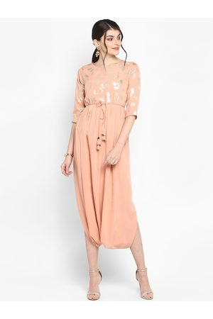 Janasya Women Peach-Coloured & Silver-Toned Printed A-Line Kurta