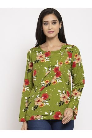 Karmic Vision Women Green Printed Top