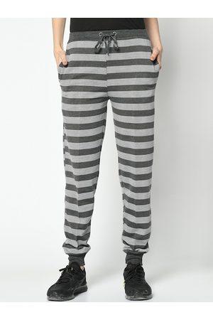 VIMAL JONNEY Women Grey & White Striped Joggers