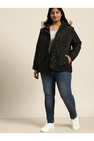 Sztori Women Black Solid Plus Size Hooded Parka Jacket