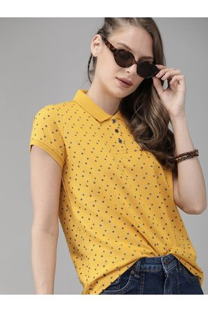 Roadster Women Yellow & Navy Blue Printed Polo Collar T-shirt