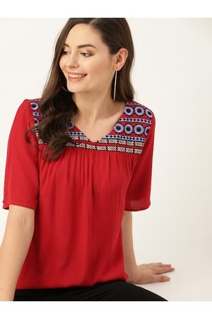 DressBerry Women Red & Blue Embroidered A-Line Top