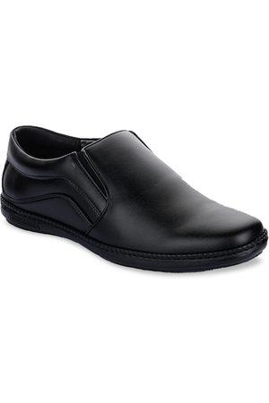 Liberty Men Black Solid Leather Formal Slip-Ons