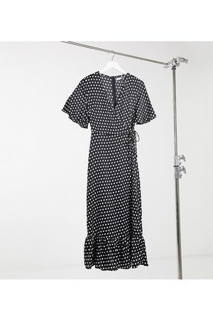 Missguided Wrap dress with ruffle hem in polka