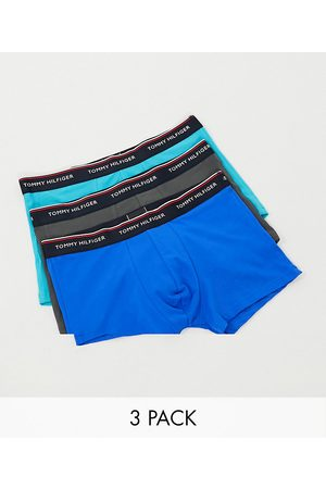 Tommy Hilfiger 3 pack trunks in blue/grey/turquoise with logo waistband