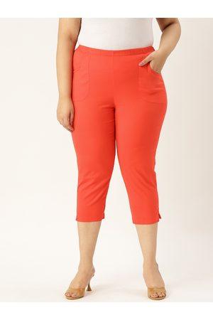 Revolution Women Orange Solid Plus Size Regular Fit Capris