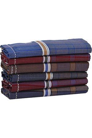 Calvadoss Men Pack Of 6 Checked Ultra Premium Handkerchiefs Gift Set