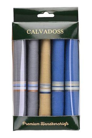 Calvadoss Men Pack Of 5 Solid Handkerchief Gift Set