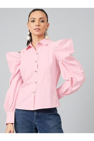 ATHENA Women Pink Solid Shirt Style Top