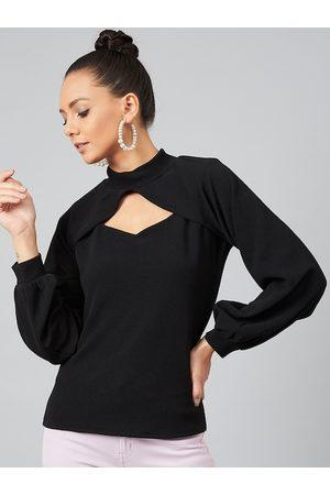 ATHENA Women Tops - Women Black Solid Top