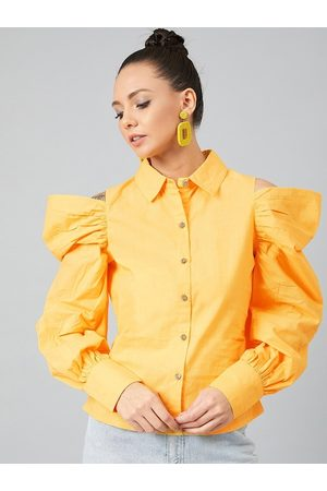 ATHENA Women Yellow Solid Shirt Style Top