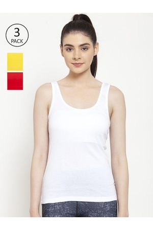 Friskers Women White & Red Pack of 3 Solid Tank Top