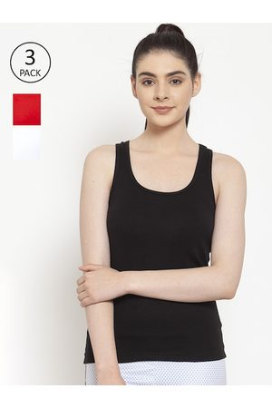 Friskers Women Black & White Pack of 3 Solid Tank Top