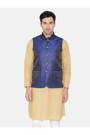 Wintage Men Blue Woven Design Nehru Jacket