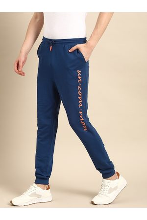 Ether Men Blue Slim Fit Solid Joggers With Printed Detail
